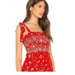 Free People Red Floral Wide Leg Jumpsuit